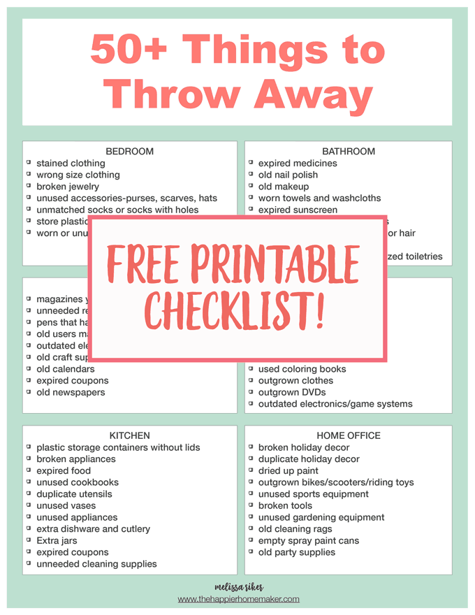 checklist of 50 things to throw away