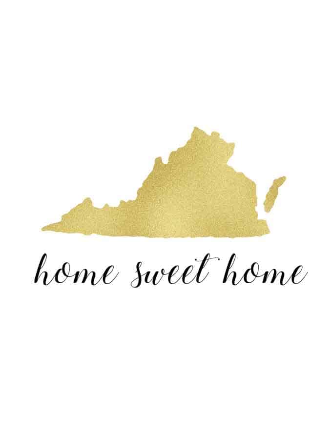 "Free printable state art ""Home Sweet Home"" includes versions for all 50 US states!"