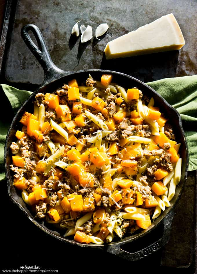 Butternut Squash and Sausage Penne in a cast iron skillet