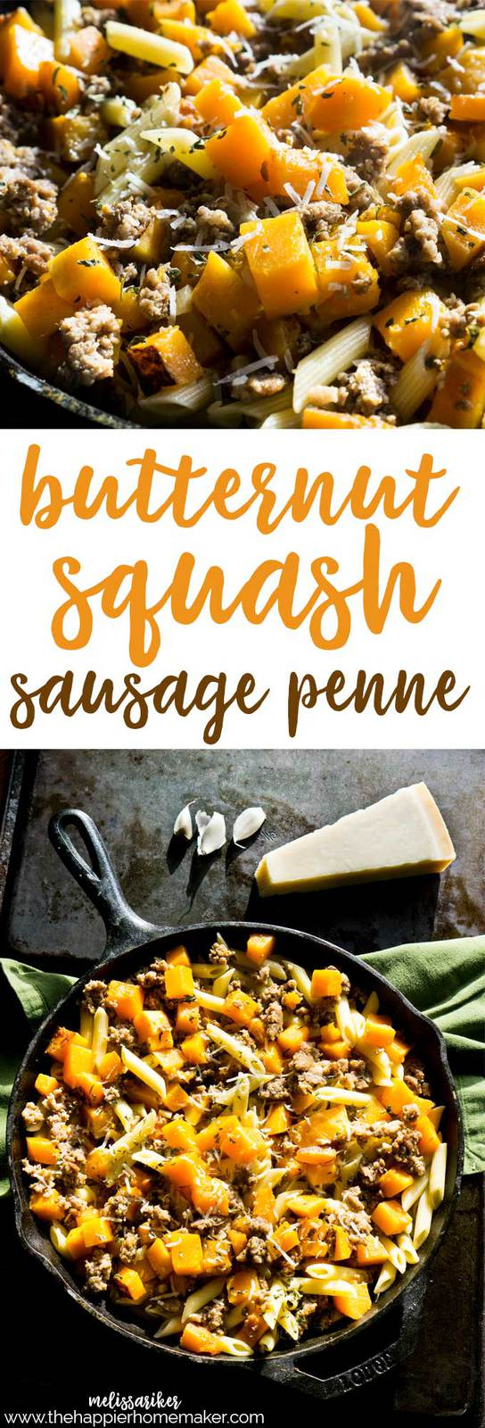 Butternut Squash and Sausage Penne is an easy weeknight dinner recipe and tasty enough for entertaining!