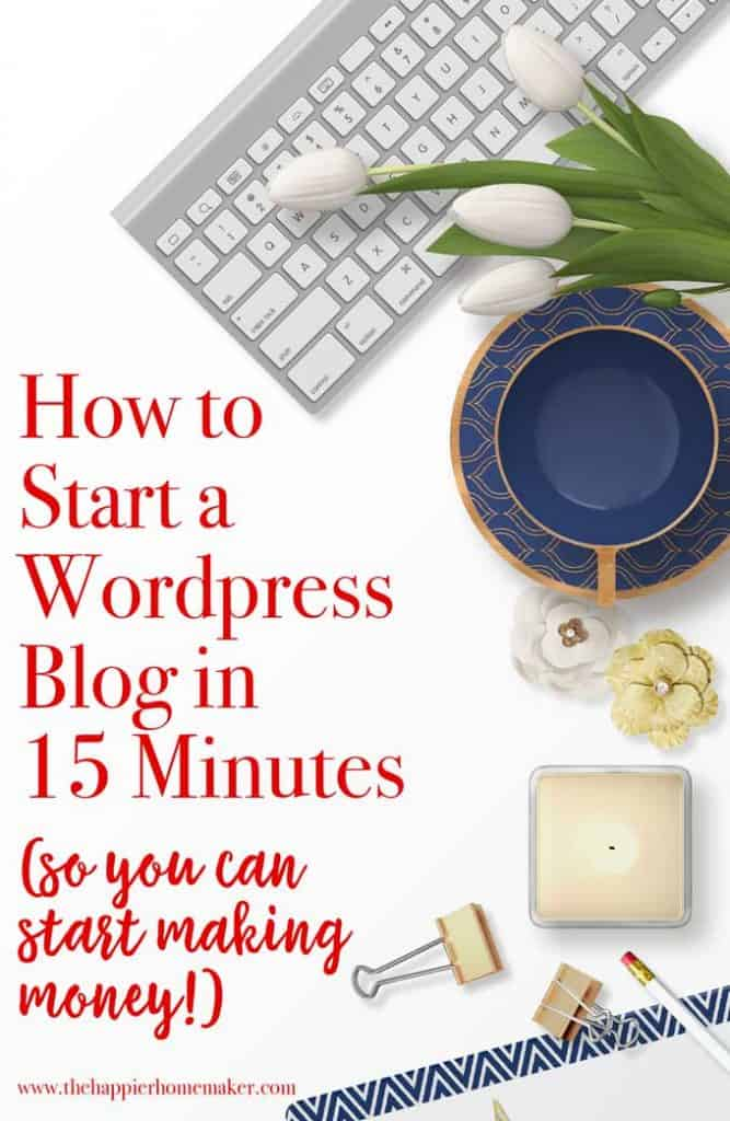 how to start a blog in 15 minutes written next to computer keyboard and coffee cup