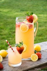 This easy Strawberry Lemonade recipe can be made in just ten minutes-perfect for entertaining! Make with sparkling water for an extra special drink for baby showers, wedding showers, or other special occasions.