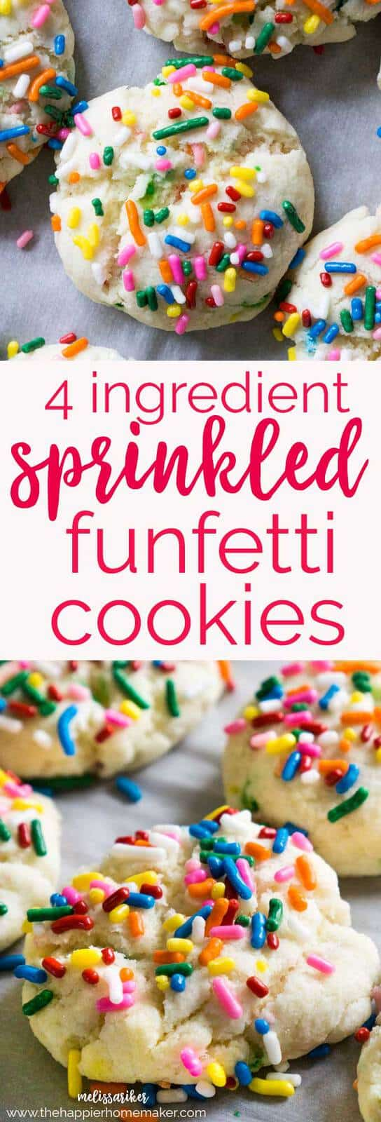 Easy 4 Ingredient Funfetti Cookies are delicious, colorful, and a huge hit with the kids. One of my favorite easy dessert recipes.