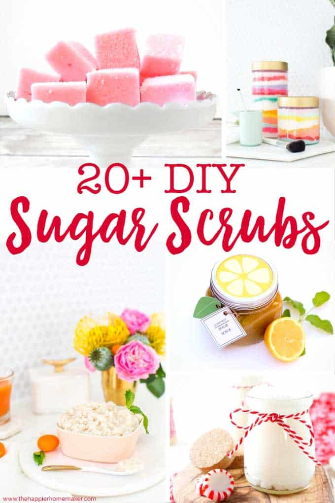 20 DIY Sugar Scrub Recipes text over collage of sugar scrub pictures