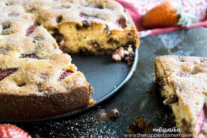 Strawberry Chocolate chip cake on plate