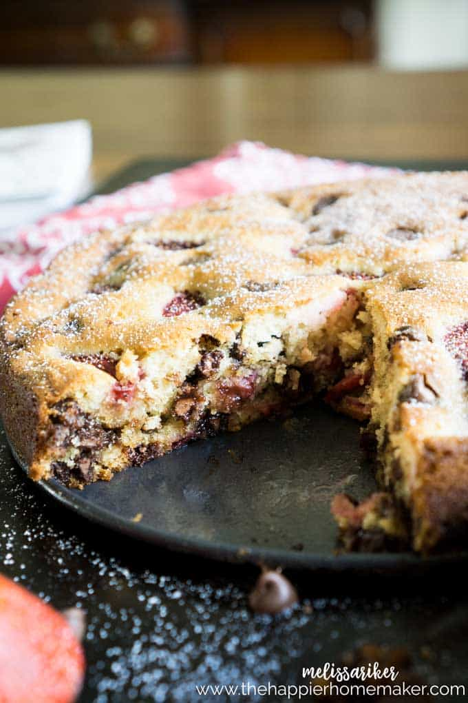 chocolate chip strawberry cake with slice taken out