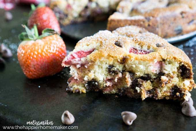 Easy Strawberry Chocolate Chip Cake is not only beautiful but delicious! Perfect easy dessert recipe for entertaining!