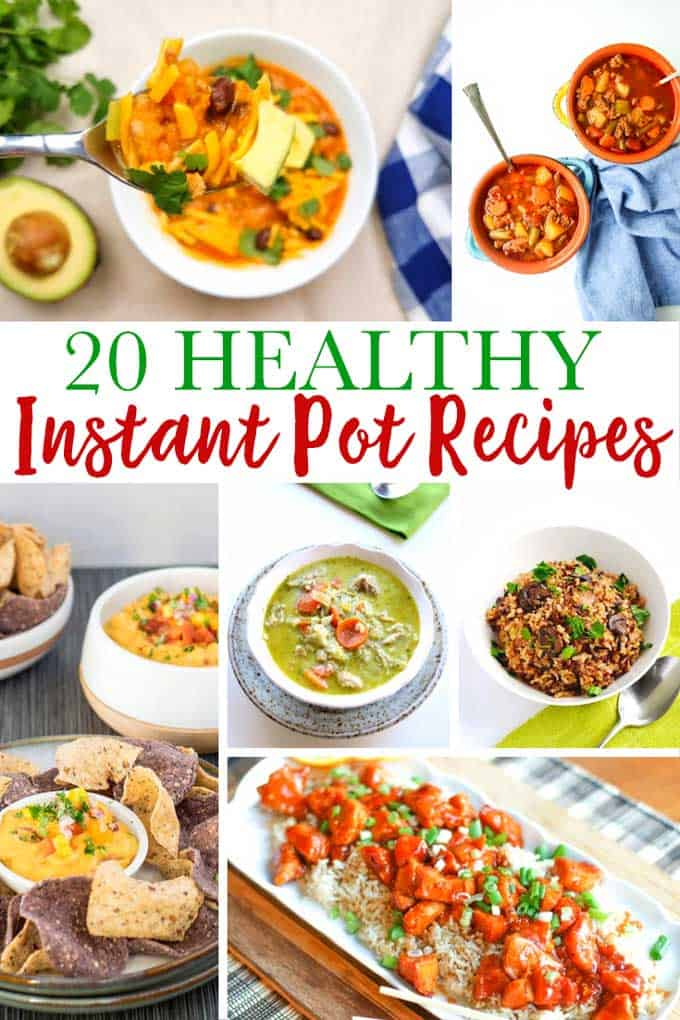 collage of healthy instant pot recipes with text overlay