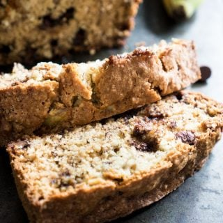Chocolate chip banana bread is a sweet quickbread that's perfect for using up those over ripe bananas you have- whips up quickly and no mixer required!