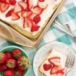 strawberry cream puff cake from overhead