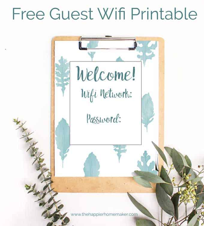 guest wifi printable on clipboard