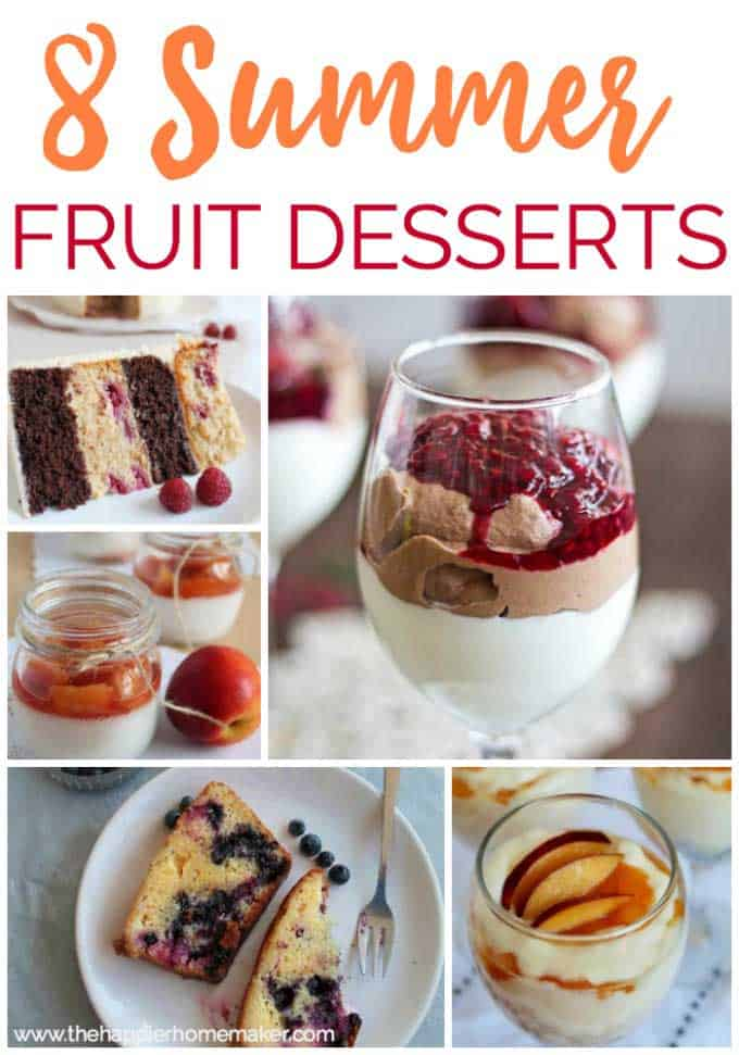 A collage of summer fruit desserts including raspberry mousse, peach cake and raspberry chocolate cake