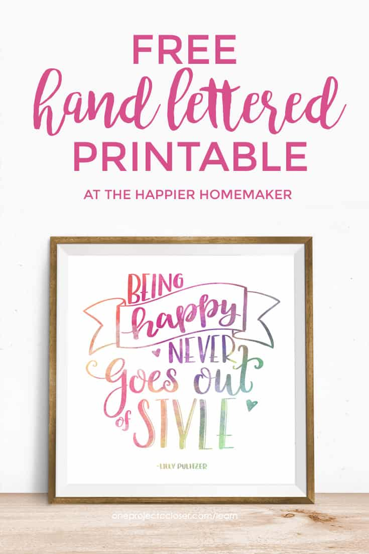This free hand lettered rainbow printable is the perfect way to update your decor without spending money! And you can learn how to make your own handlettered projects yourself with an amazing eCourse!
