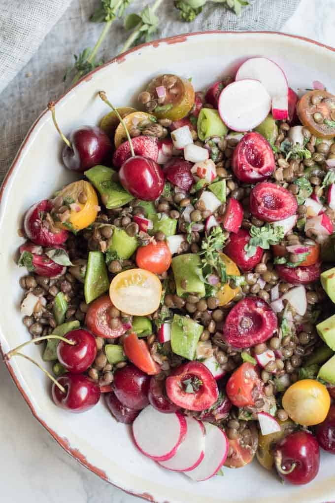 Farmers Market Lentil Salad with Fresh Cherries