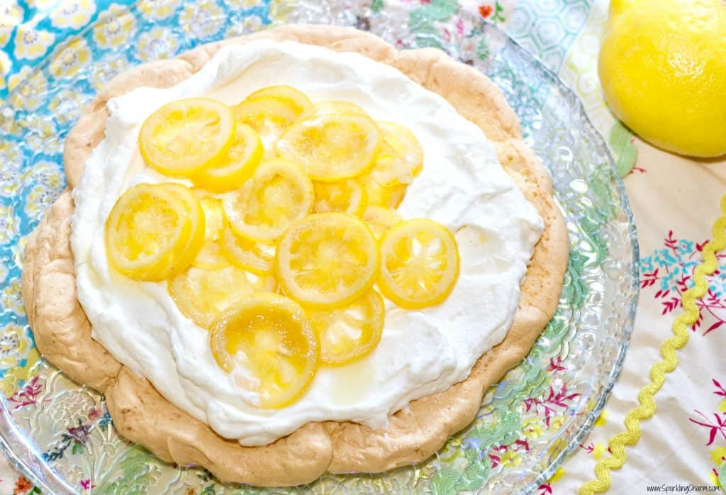 Candied Lemon Pavlova with Fresh Whipped Cream