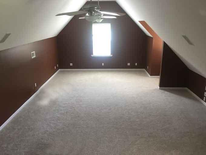 A bonus room with carpet and dark brown walls