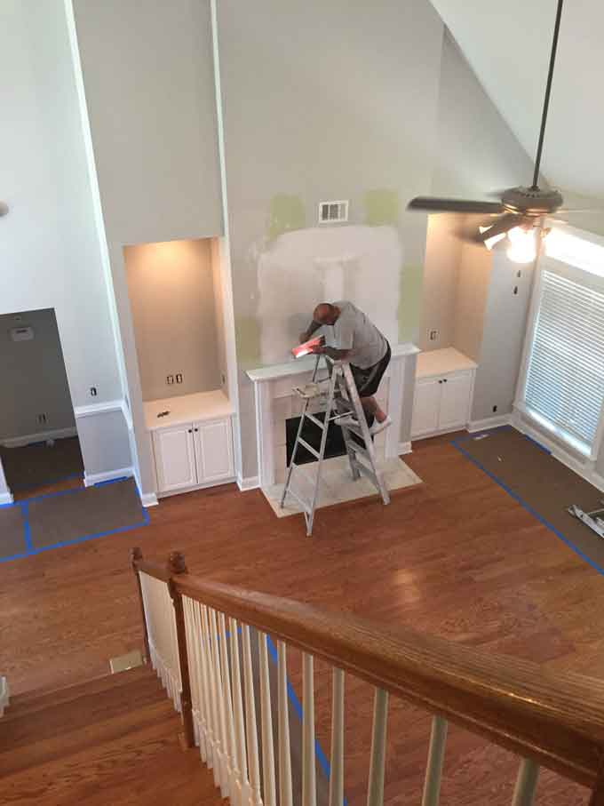 An in-process picture of closing in the TV nook before painting