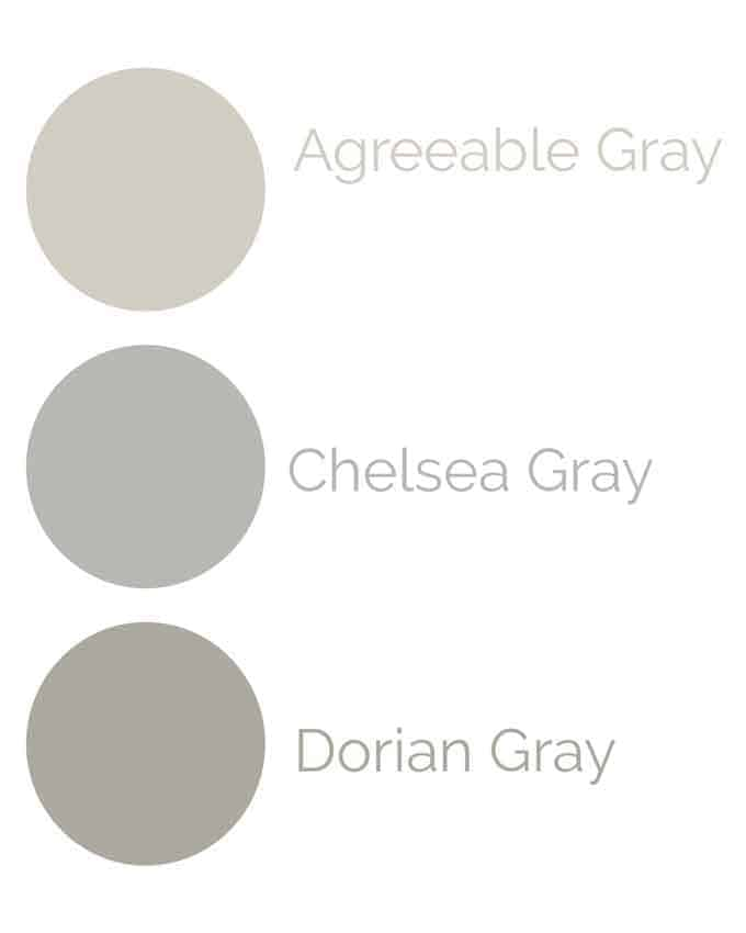 collage of grey paint colors with names