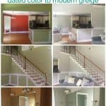 A collage of before and after interior paint pictures