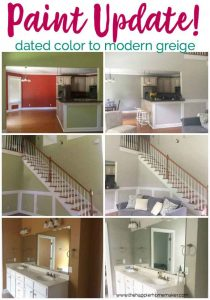 Dated paint gets a modern update with Sherwin Williams Greige paint- Agreeable gray, Chelsea Gray, and Dorian Gray. Home makeover