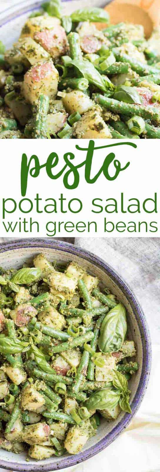 Fresh basil pesto with almonds is the perfect pair to creamy potatoes and crunchy green beans in this quick and easy Pesto Potato Salad.