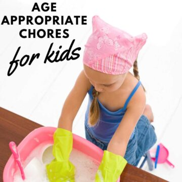 A little girl in a pink bandana washing dishes in a pink basin with text reading age appropriate chores for kids