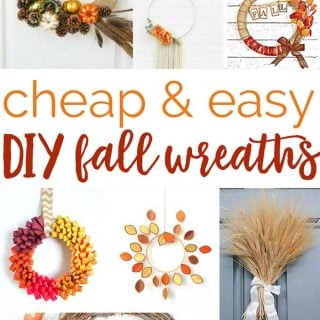 collage of fall wreath with text reading cheap and easy DIY fall wreaths