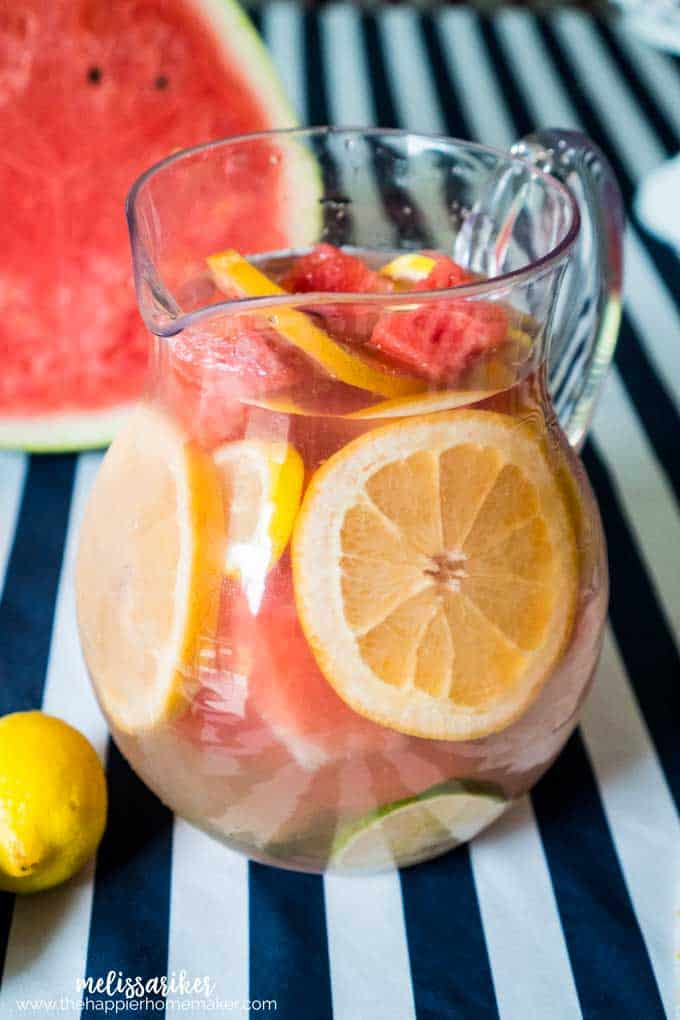 Fruit infused detox water is a great way to stay hydrated and get the added benefits of nutrients in the watermelon, grapefruit, lemon and lime!