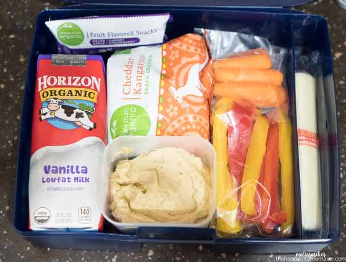 An above picture of a lunchbox with milk, sandwich and snacks