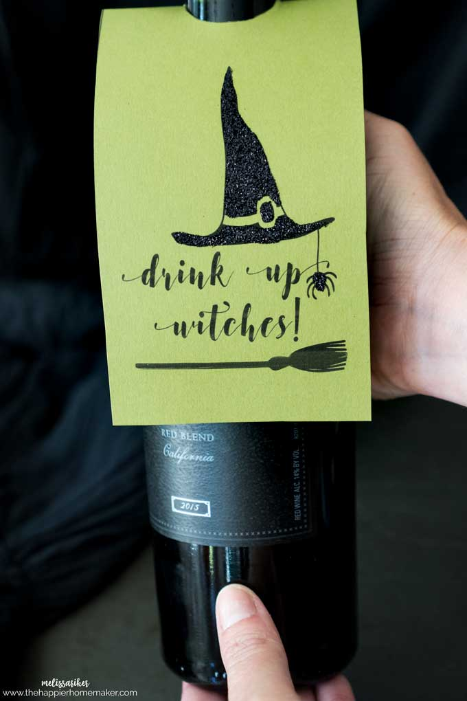 "Halloween ""You've Been BOOzed"" and ""Drink Up Witches"" Wine and Liquor Printable Tags on bottle"