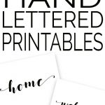 collage of hand lettered printables with words like home and welcome