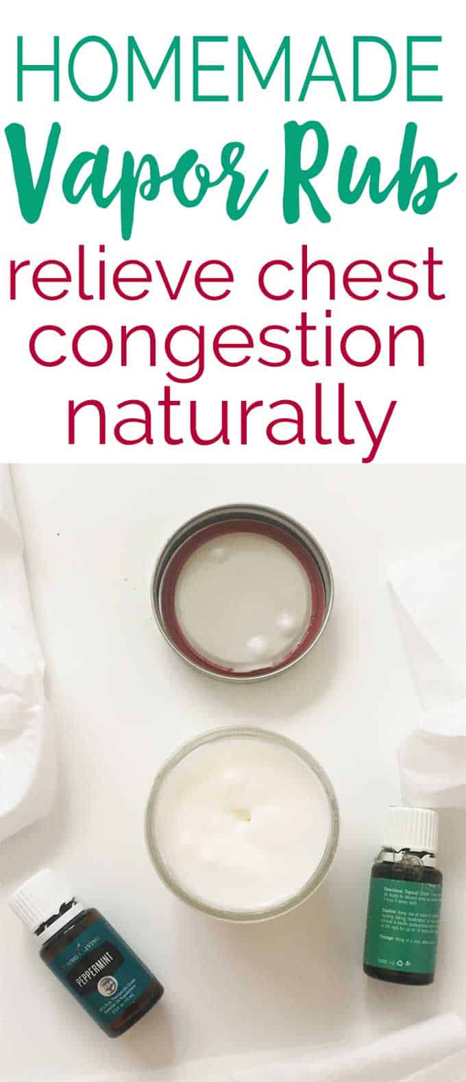 Relieve chest congestion naturally with homemade vapor rub menthol chest ointment made with coconut oil and essential oils.
