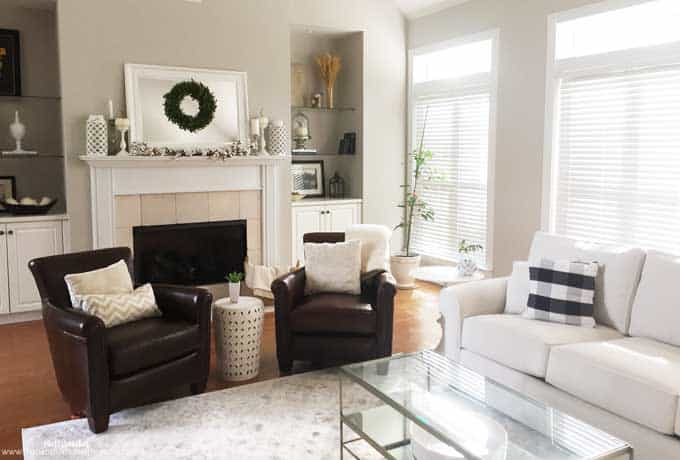 Neutral Autumn decor in a traditional living room