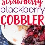This traditional berry cobbler is very easy to make and tastes delicious-the batter goes in the pan first then the strawberry and blackberry mixture pours over top and bakes up into a sweet, delicate cobbler that is always a hit when entertaining!