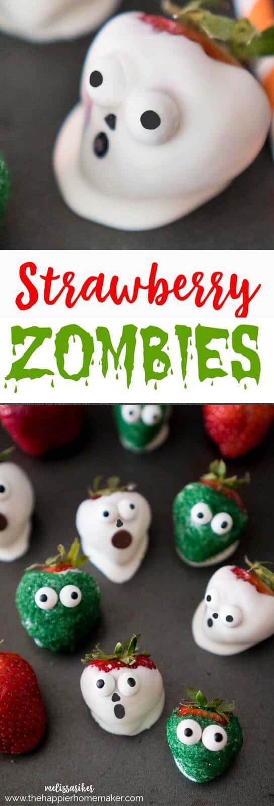 Halloween chocolate covered strawberry zombies the happier homemaker chocolate covered strawberry zombies are an easy and cute kids party treat forumfinder Choice Image