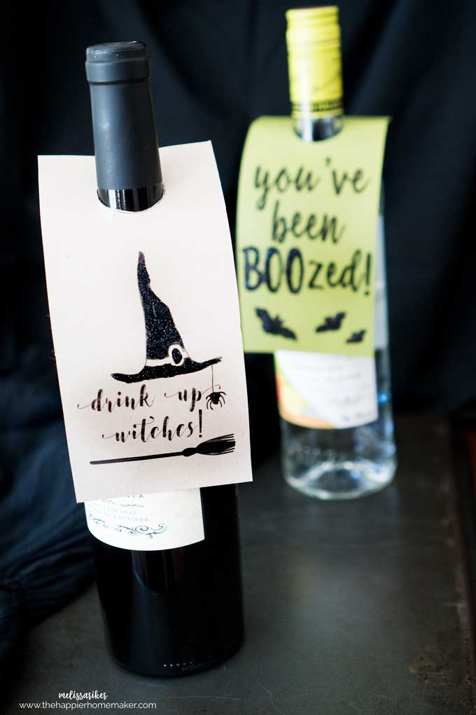 "Halloween ""You've Been BOOzed"" and ""Drink Up Witches"" Wine and Liquor Printable Tags on bottles"