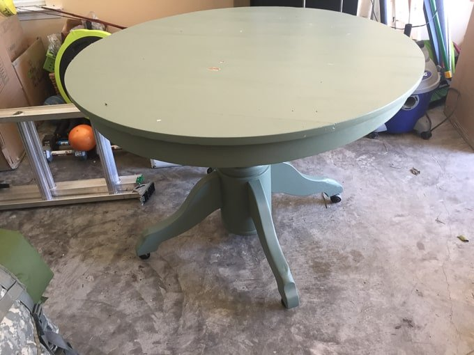sage round table in garage