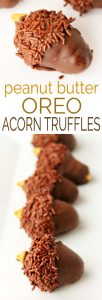 Looking for a perfect easy fall dessert recipe? Look no further! These Peanut Butter OREO Acorn Truffles need only 5 ingredients, can be made quickly, and taste delicious!