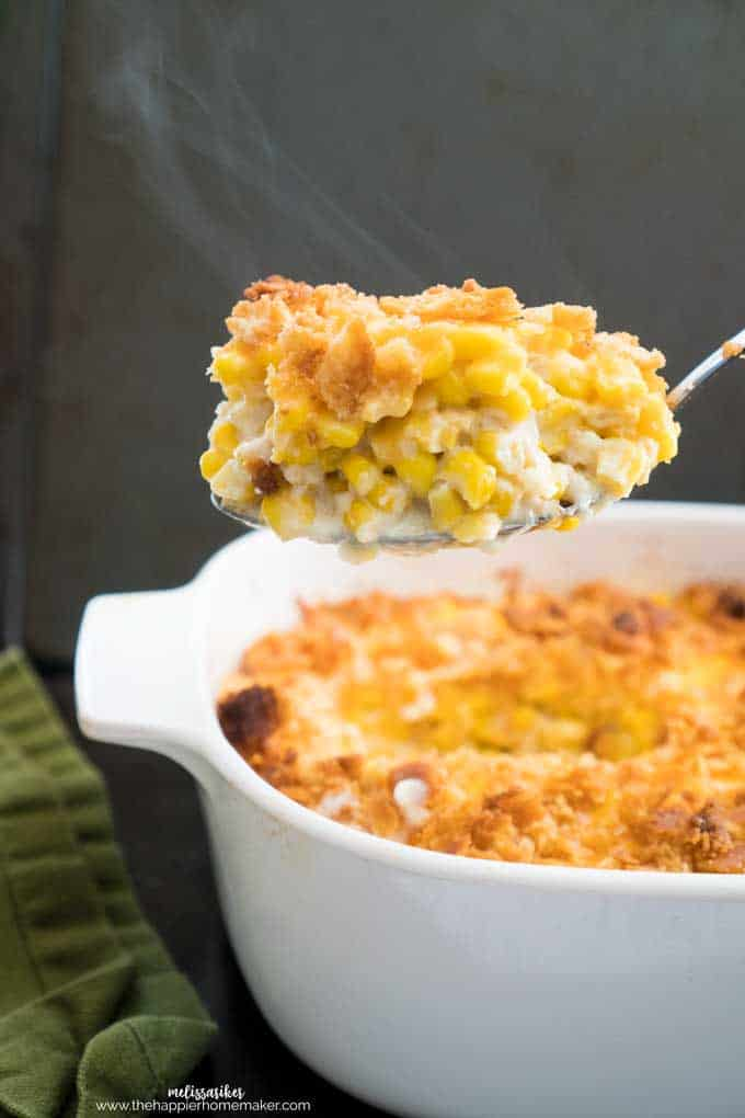 Traditional Corn Pudding is a classic corn casserole recipe perfect for Thanksgiving but easy enough for weeknight dinners. Creamy corn with cheese and a buttery cracker topping.