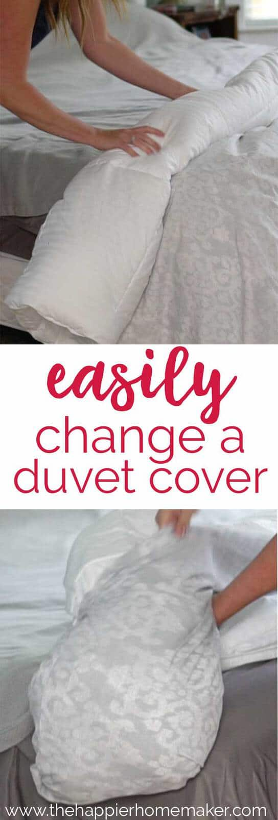 The secret to quickly and easily changing a duvet cover in just minutes-no more tugging covers and lumpy bedding!