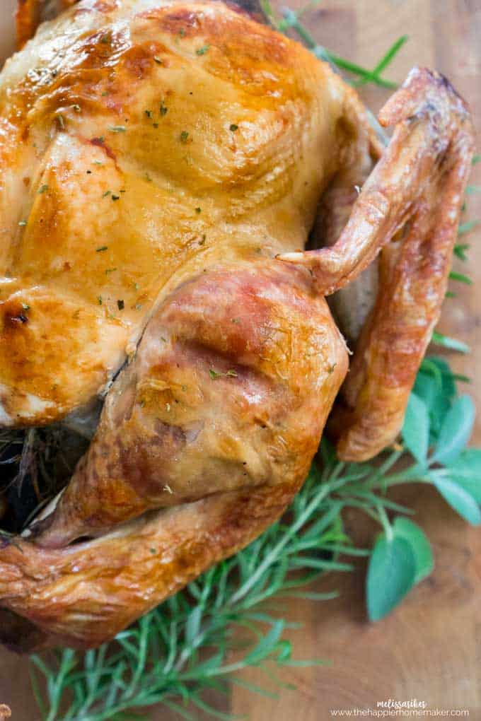 perfectly roast Thanksgiving turkey on wooden cutting board with fresh herbs