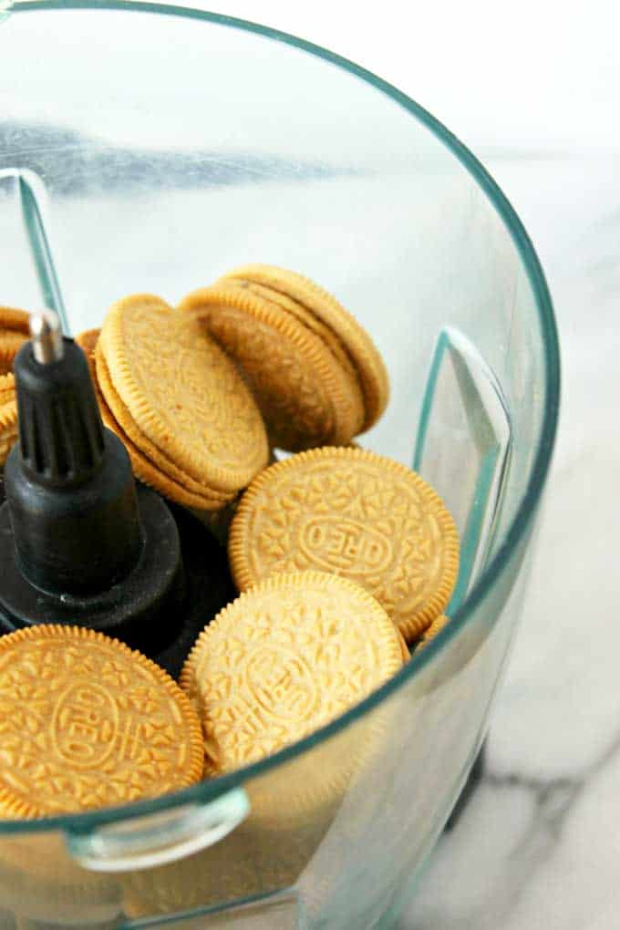 Peanut butter Oreo cookies in a mixer