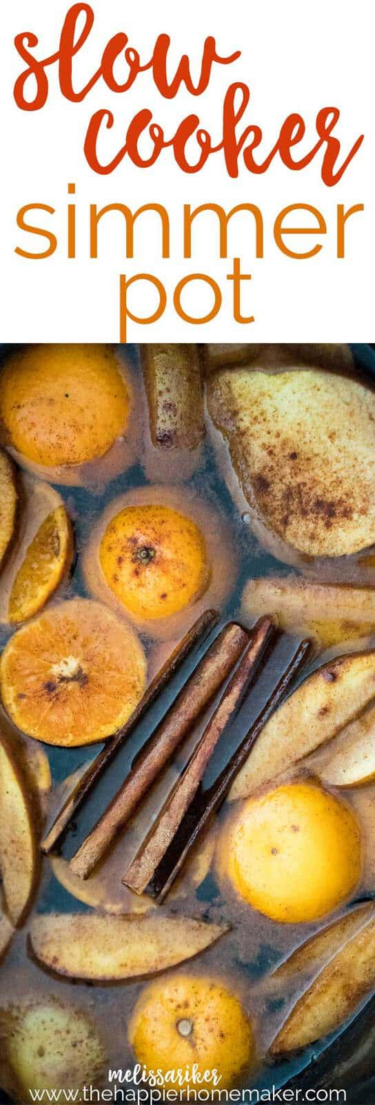Simmer pots, or stovetop potpourri, can be made in the crockpot too! This Autumn Simmer Pot Recipe is an easy, chemical free way to scent your home using your slow cooker!