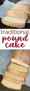 This traditional pound cake is a slight variation on the classic recipe, instead adding a richer flavor with the addition of brown sugar and vanilla. The perfect dessert alone or with berries and whipped cream or ice cream!