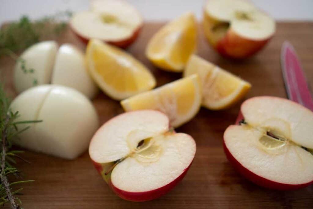 sliced apples on cutting board