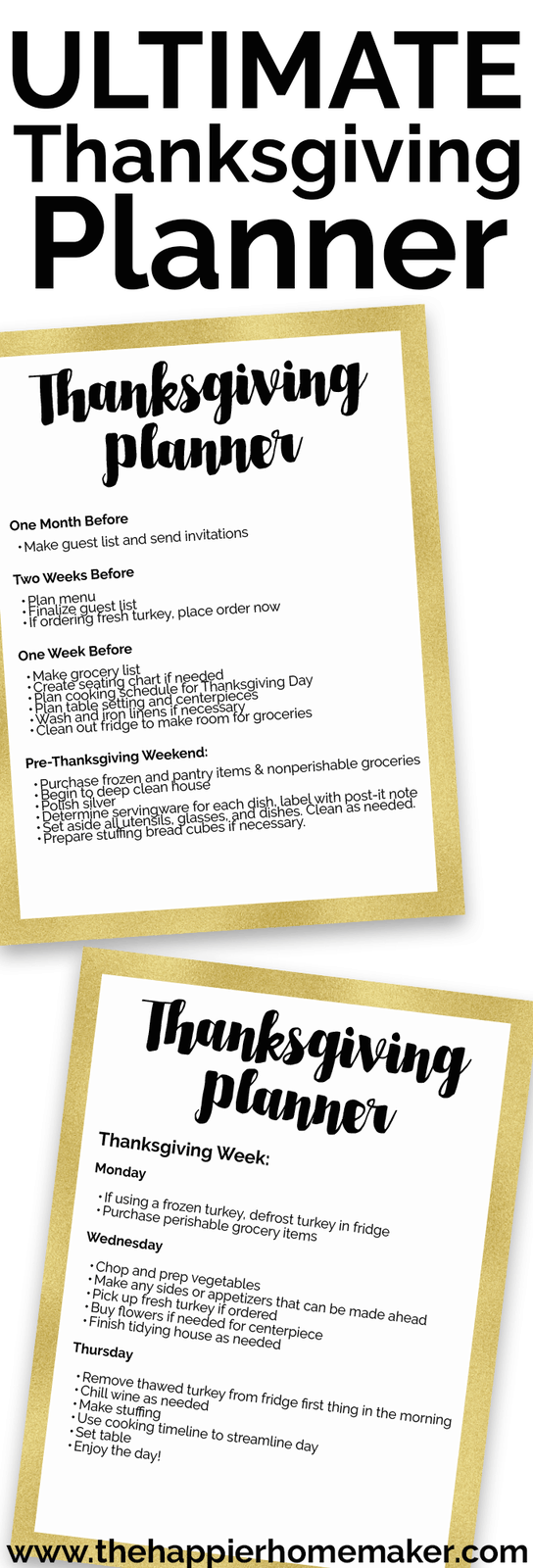 The ultimate Thanksgiving planner printable - help keep your holiday organized and stress free with this free printable schedule.