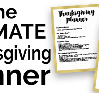Thanksgiving planner sheets collage with text reading The ultimate thanksgiving planner