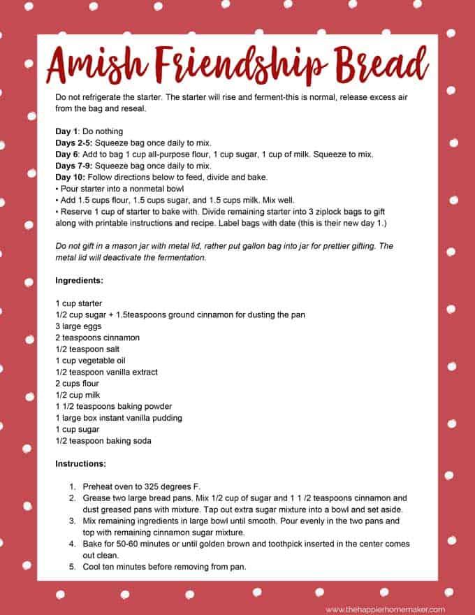 Amish Friendship Bread Recipe Printable