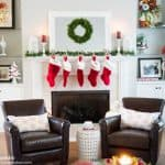 A traditionally decorated home for Christmas featuring reds and greens with buffalo check and plaid. Very pretty and frugal decor!