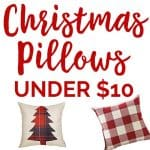 Update your Christmas decor inexpensively with these Christmas pillows you can find for under $10 each!